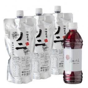 写真:沖縄県産ノニ 果汁100% 500ml (パウチ)×3袋+ハイビスカスBeni 500ml